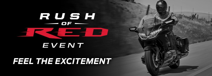 "Honda Rush of Red event logo with tagline ""Feel the Excitement"" along with an image from one motorcycle category"