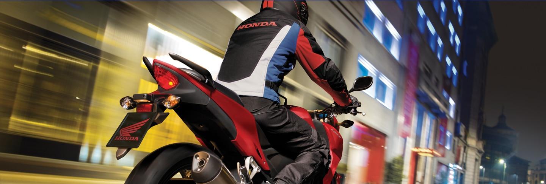 honda cbr and rider in tunnel