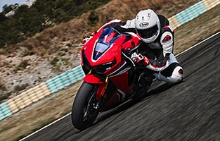 image of a cbr on a race track