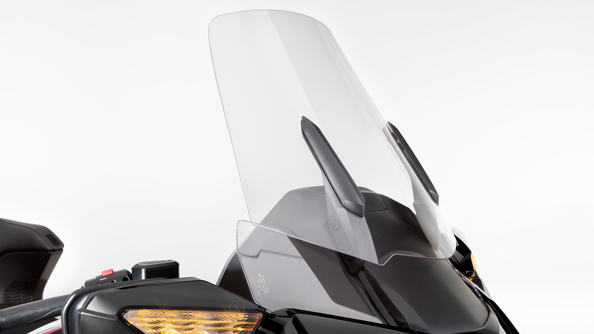 Close-Up. Side-View. Adjustable Electric Windshield.